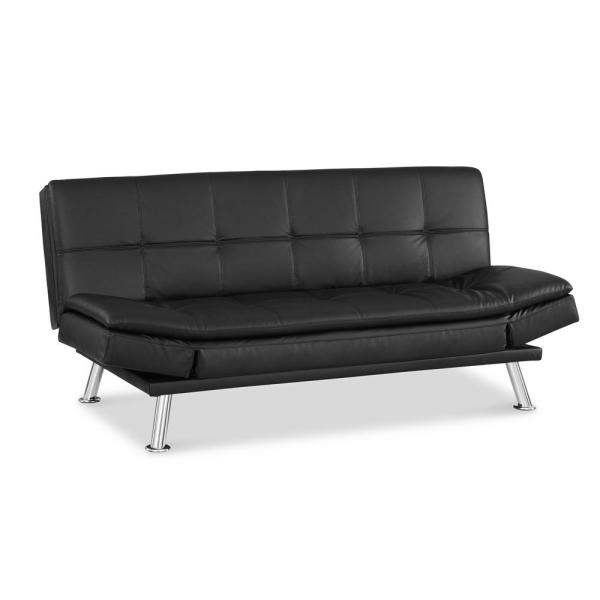 Nelson Faux Leather Convertible Sofa with Self Stitching in Black
