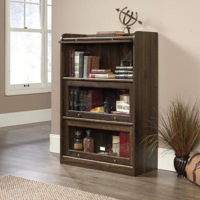 47.13 in. Iron Oak Faux Wood 4-shelf Barrister Bookcase with Storage