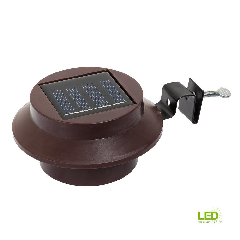 Solar Powered Walkway Lights Walmart: Brown Solar Powered Outdoor Integrated LED Landscape Roof