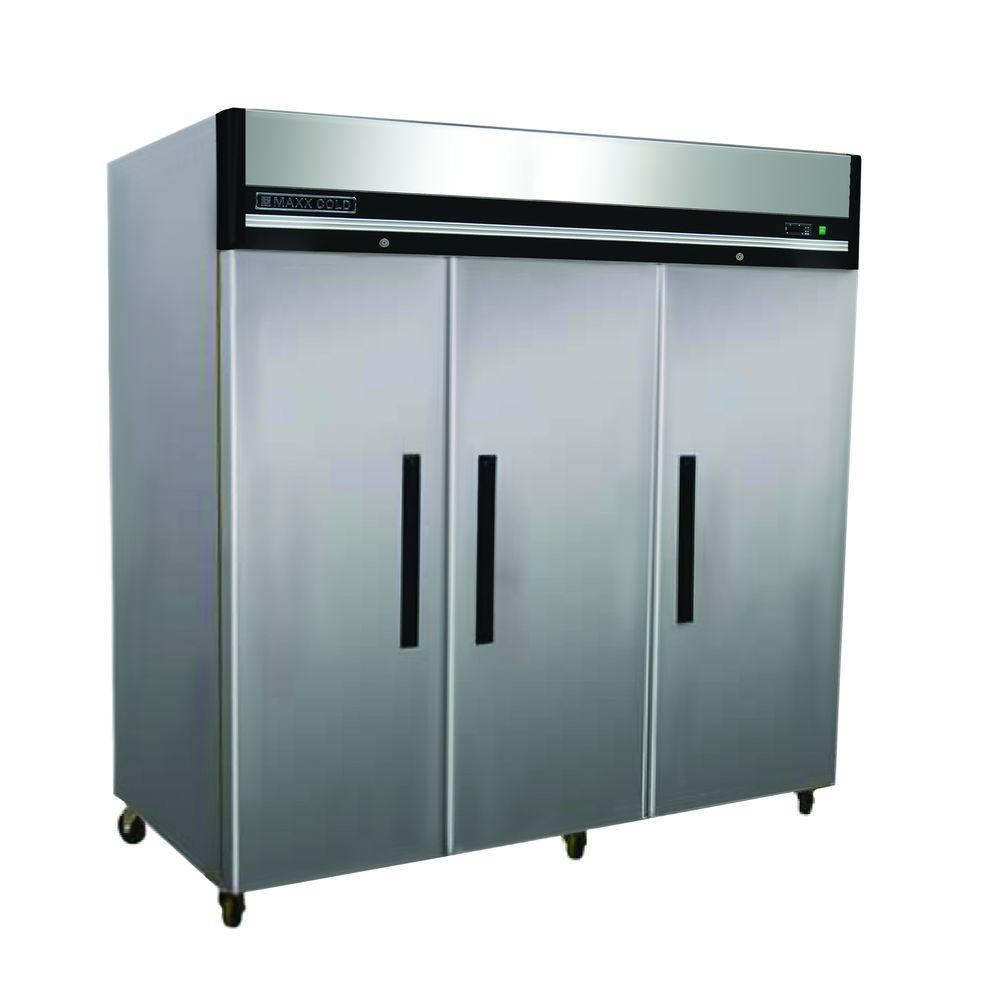 Maxx Cold X-Series 72 cu. ft. Triple Door Commercial Reach In Upright Freezer in Stainless Steel