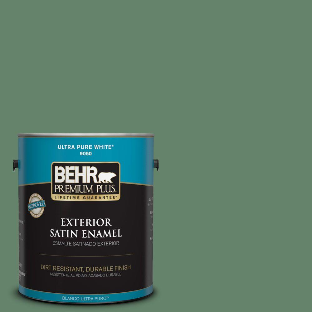 BEHR Premium Plus 1-gal. #BIC-55 Garden Greenery Satin Enamel Exterior Paint