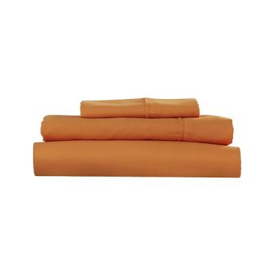 3-Piece Rust Solid 75 Thread Count Polyester Twin Sheet Set