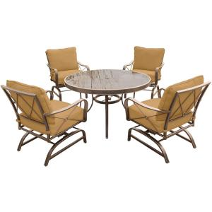 Hanover Summer Nights 5-Piece Outdoor Dining Set with Round Glass-Top Table and Steel Rockers with Desert... by Hanover