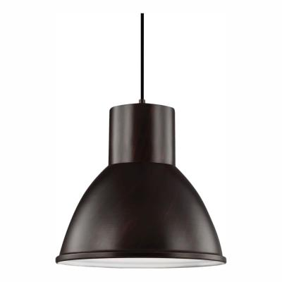 Division Street 1-Light Burnt Sienna Pendant with LED Bulb
