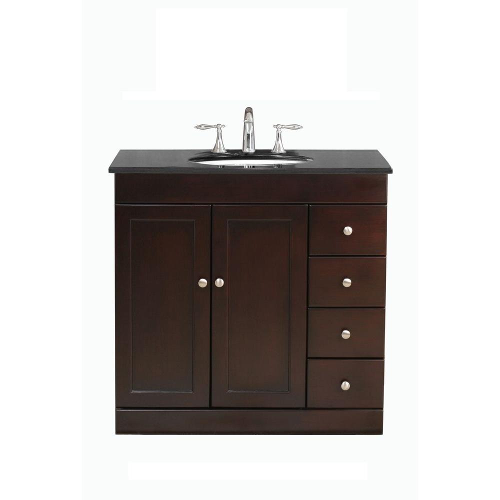 Virtu USA Modena 36 in. Single Basin Vanity in Espresso with Granite Stone Vanity Top in Black Galaxy-DISCONTINUED