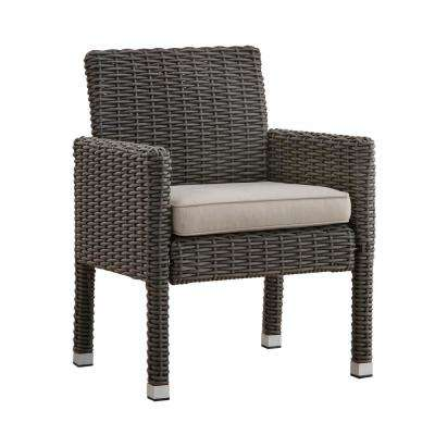 Camari Charcoal Arm Wicker Outdoor Dining Chair with Beige Cushion (Set of 2)
