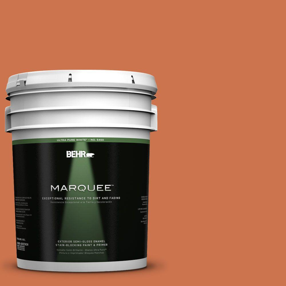 BEHR MARQUEE 5-gal. #PMD-103 Sweet Carrot Semi-Gloss Enamel Exterior Paint