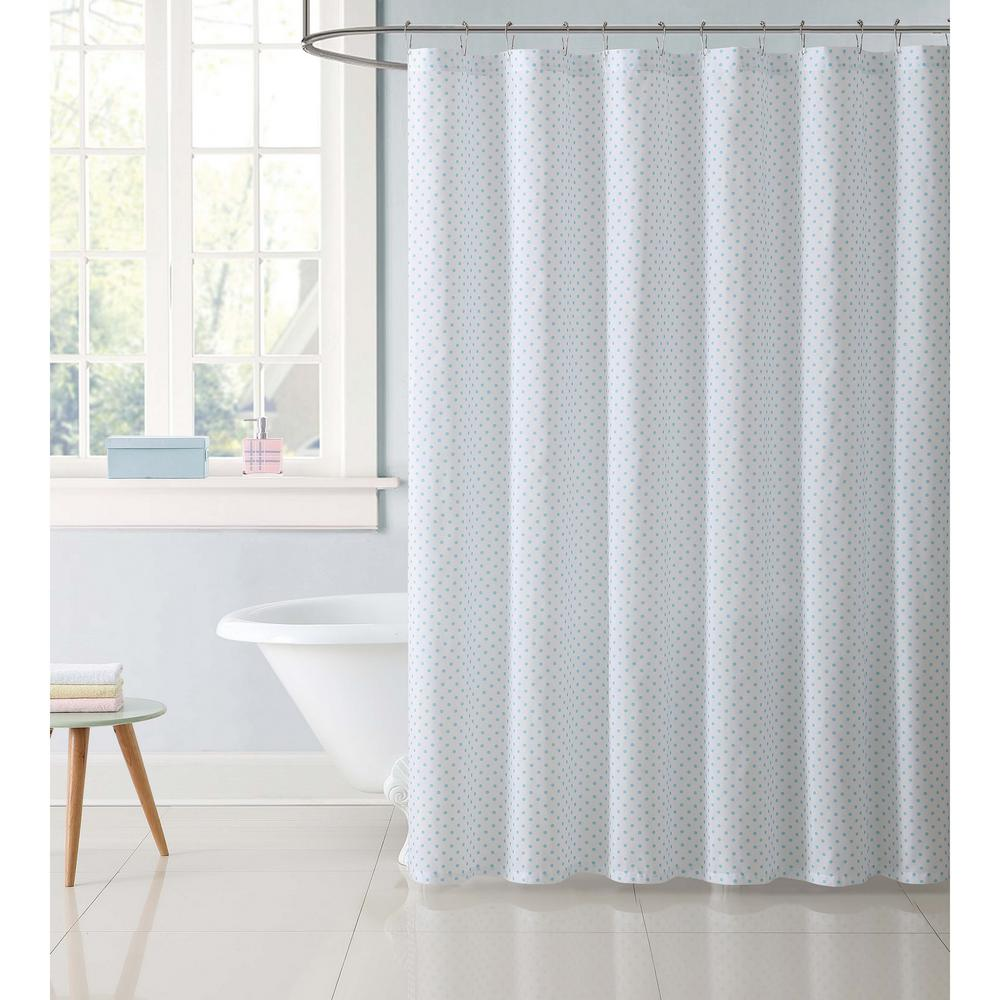 72 in. Dot Aqua Shower Curtain