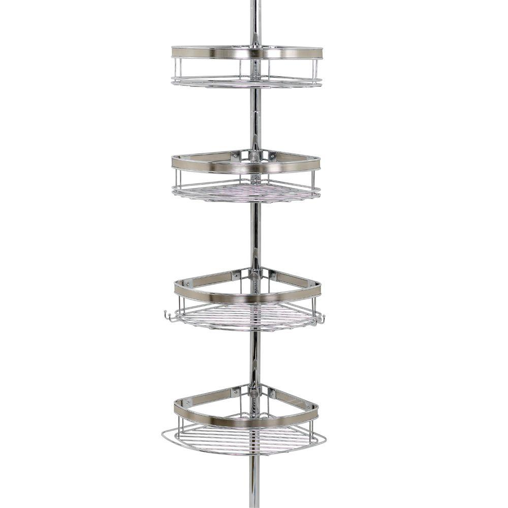 Beau Glacier Bay Premium Metal Pole Shower Caddy In Chrome