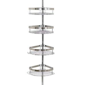 Marvelous Glacier Bay Premium Metal Pole Shower Caddy In Chrome 2133NSHD   The Home  Depot