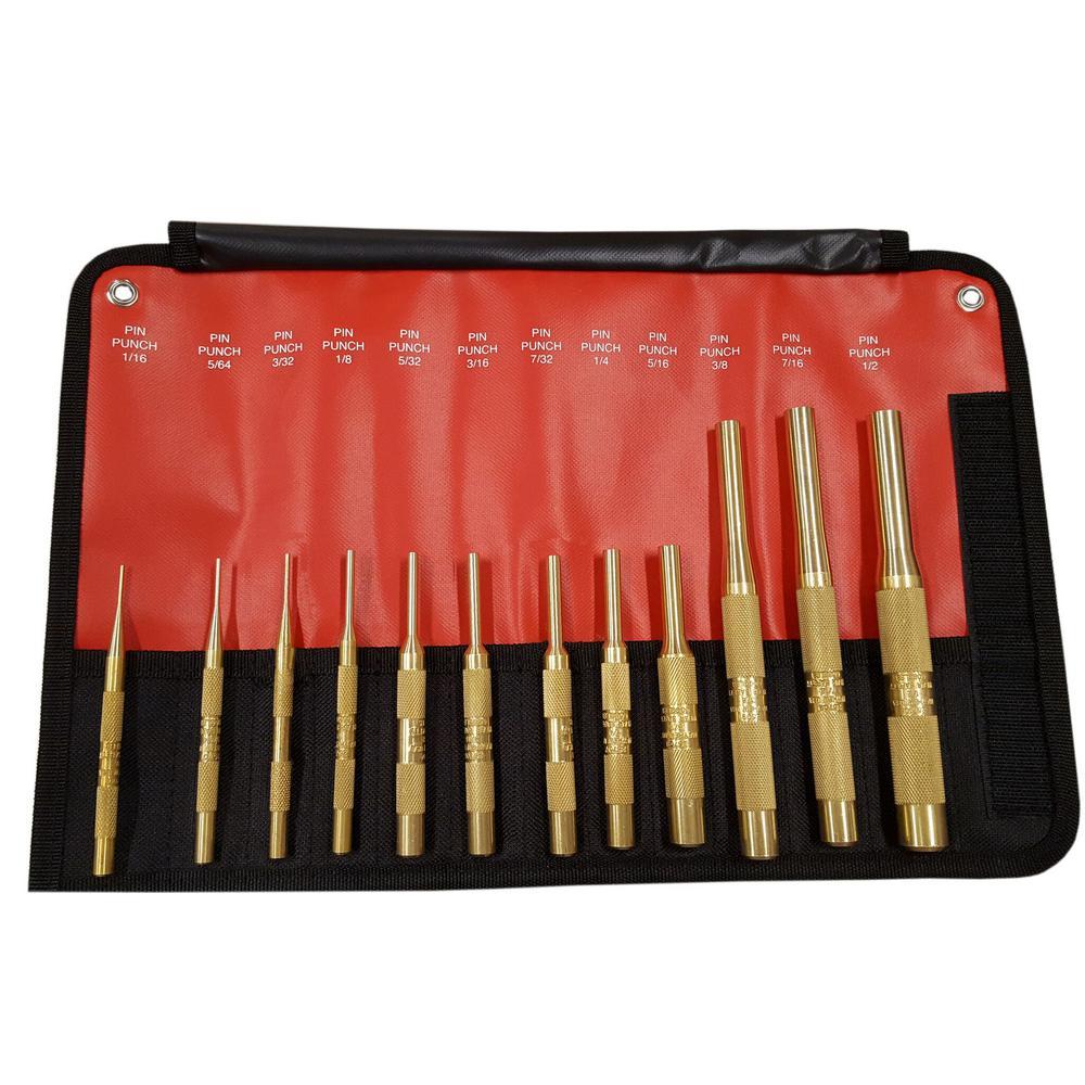 Mayhew Brass Pin Punch Set (12-Piece) by Mayhew