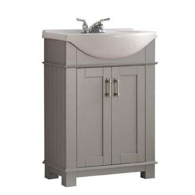 Hudson 24 in. W Traditional Bathroom Vanity in Gray with Ceramic Vanity Top in White with White Basin