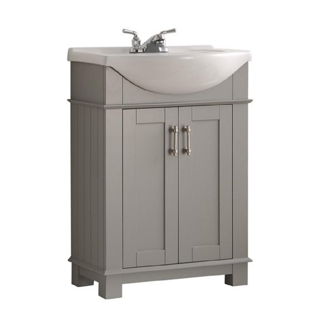 W Traditional Bathroom Vanity In Gray With Ceramic Vanity Top In White