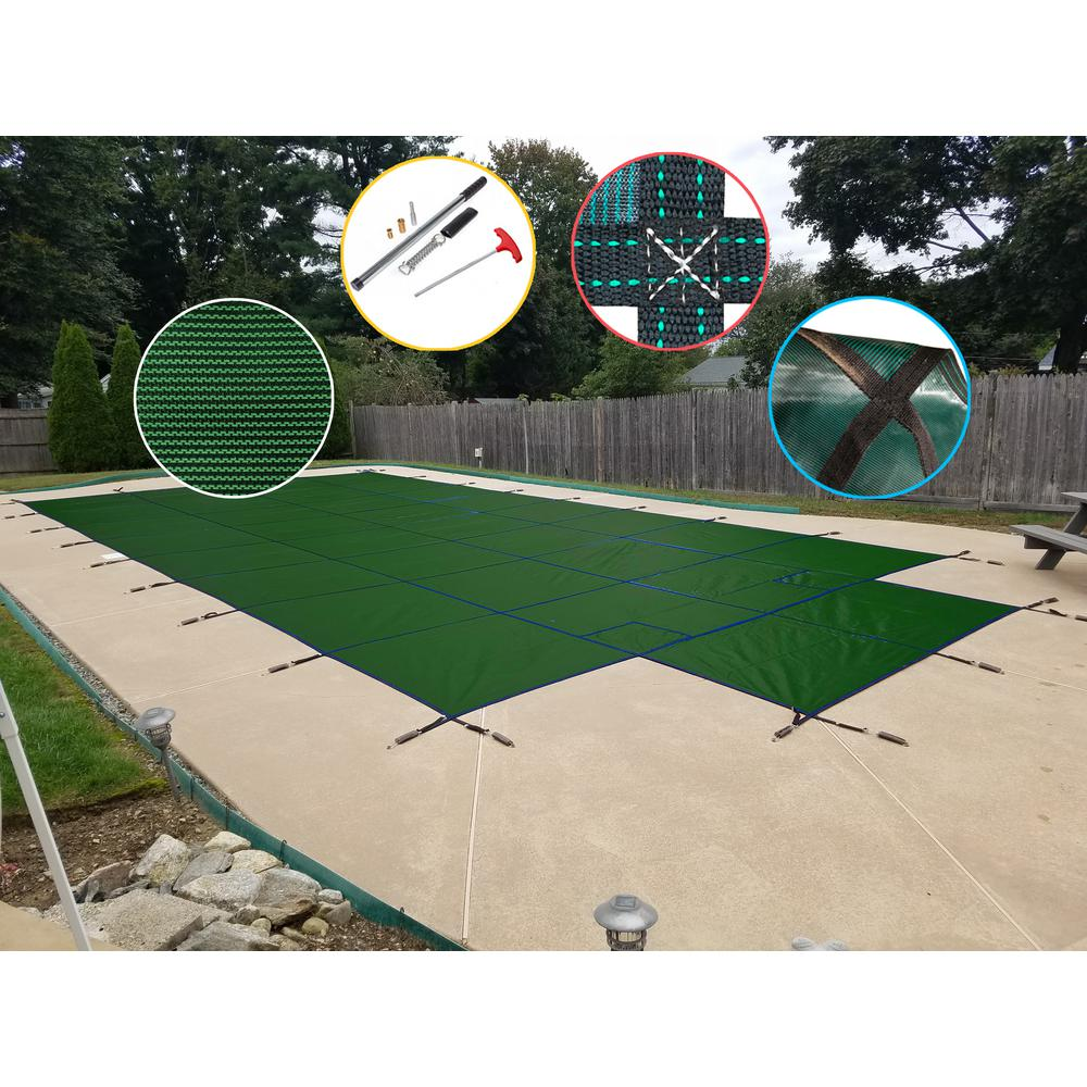 WaterWarden 18 ft. x 36 ft. Rectangle Green Mesh In-Ground Safety Pool Cover with Center End Step