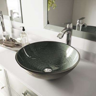 Glass Vessel Bathroom Sink in Simply Silver and Linus Faucet Set in Chrome