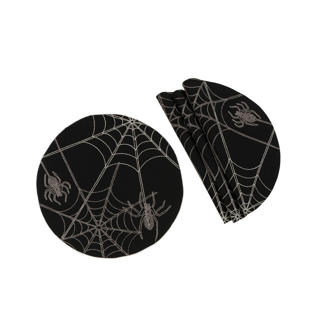 Xia Home Fashions 0.1 in. H x 16 in. W Halloween Spider Web Double Layer Placemats in Black (Set of 4)