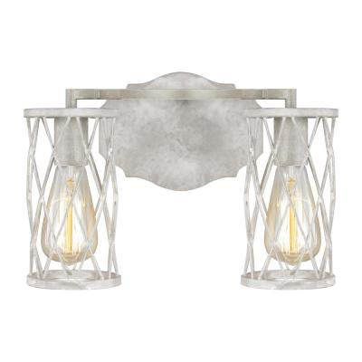 Cosette 2-Light French Washed Oak and Distressed White Wood Vanity Light