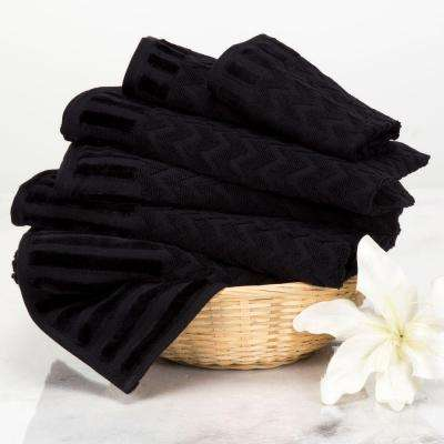Chevron Egyptian Cotton Towel Set in Black (6-Piece)