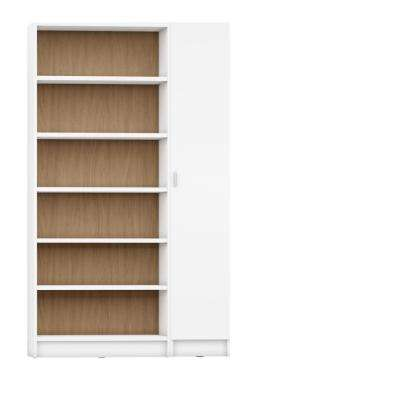 Greenwich 2-Piece White Matte and Maple Cream Bookcase 12-Wide and Narrow Shelves with 1-Narrow Door
