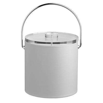 Contempo 3 Qt. White Ice Bucket with Bale Handle and Thick Lucite Lid
