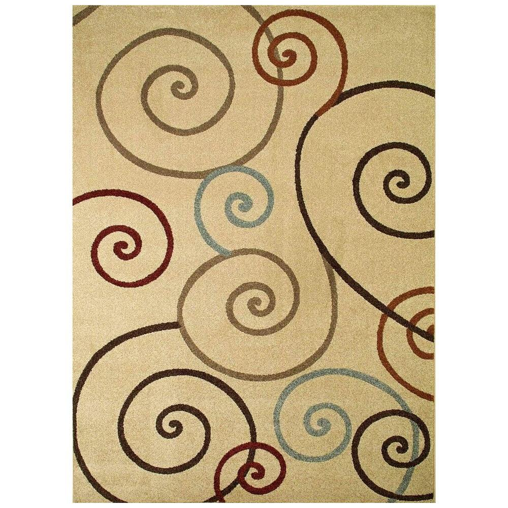 Concord Global Trading Chester Scroll Ivory 7 ft. 10 in. x 10 ft. 6 in. Area Rug
