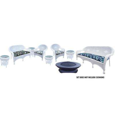 White 9-Piece Wicker Patio Fire Pit Seating Set with Oatmeal Cushions