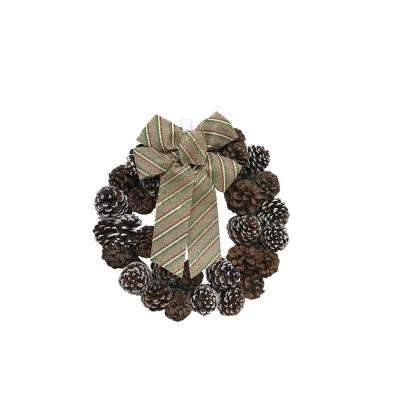 18 in. Fresh Pine Cone Christmas Wreath with Burlap Stripe Bow (2-Pack)
