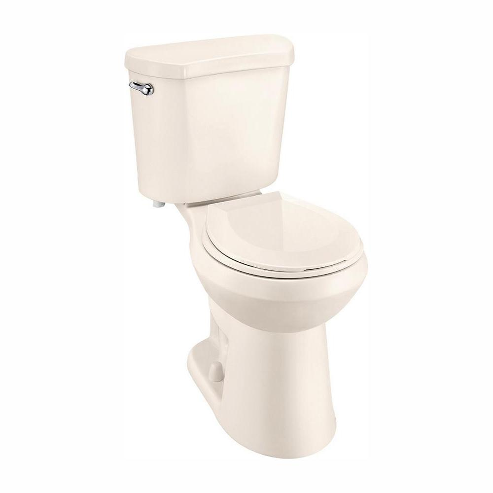 Glacier Bay 2-Piece 1.28 GPF High Efficiency Single Flush Round Toilet in Bone