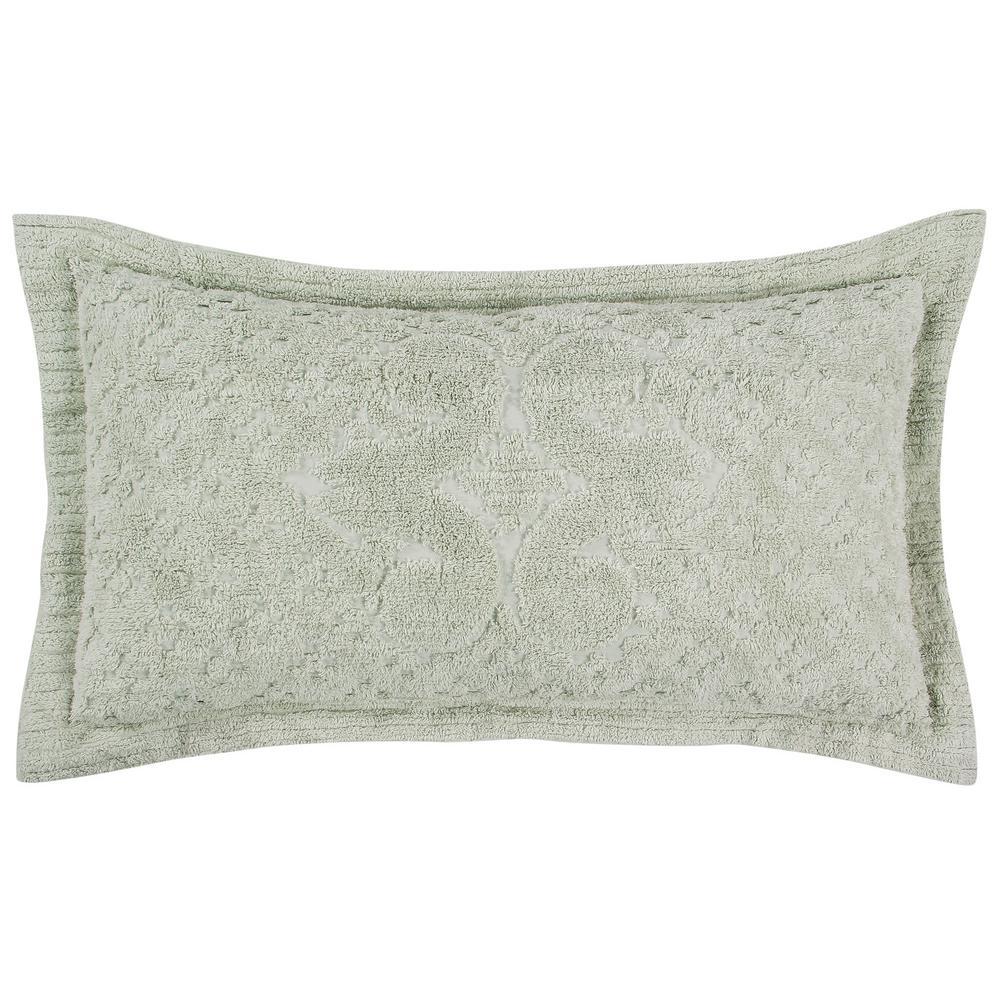 Ashton Collection in Medallion Design Sage King 100% Cotton Tufted Chenille Sham