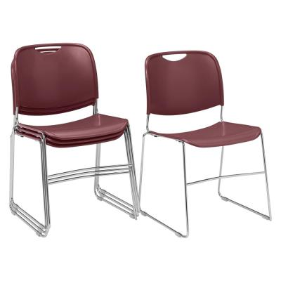 NPS 8500 Series Wine Ultra-Compact Plastic Stack Chair (4-Pack)