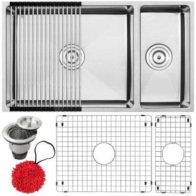 Pacific Undermount 16-Gauge Stainless Steel 31.25 in. Double Basin Kitchen Sink with Accessory Kit