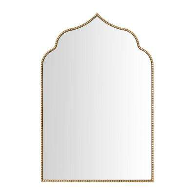 24 in. H x 35 in. W Home Decorators Collection Arched Beaded Framed Antiqued Gold Accent Mirror