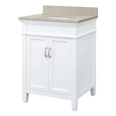 Ashburn 25 in. W x 22 in. D Vanity in White with Engineered Marble Vanity Top in Sedona with White Sink