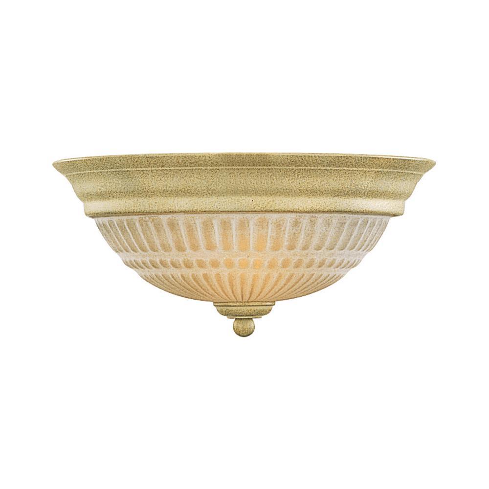 Florentia 2-Light Interior/Indoor Golden Coral Flush Mount Ceiling Fixture with Scavo Glass Bowl