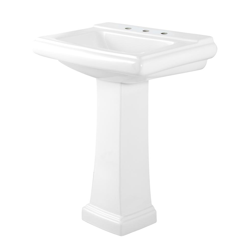 Layton Pedestal Combo Bathroom Sink in White