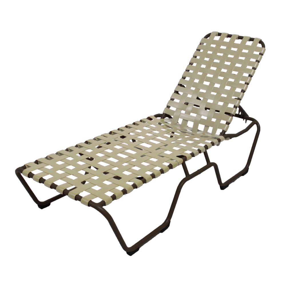 Marco Island Dark Cafe Brown Commercial Grade Aluminum Patio Chaise Lounge with Putty Vinyl Cross Straps (2-Pack)