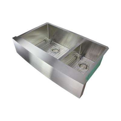 Diamond Farmhouse/Apron-Front Stainless Steel 36 in. Double Offset Bowl Kitchen Sink in Brushed Finish