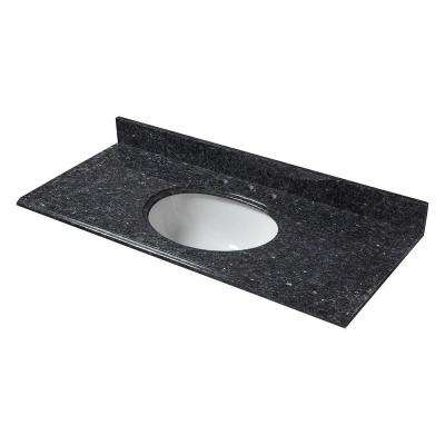 49 in. W Granite Vanity Top in Blue Pearl with White Bowl