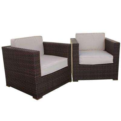 Bellagio Patio Armchair Set with Beige Cushions (2-Pack)