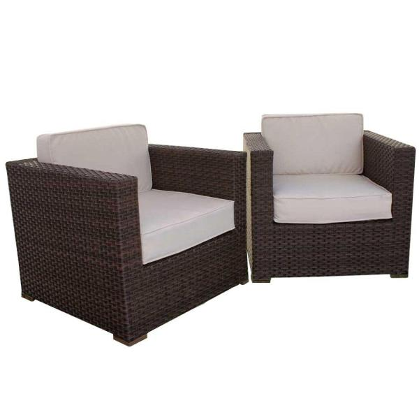 Patio Armchair Set With Beige Cushions