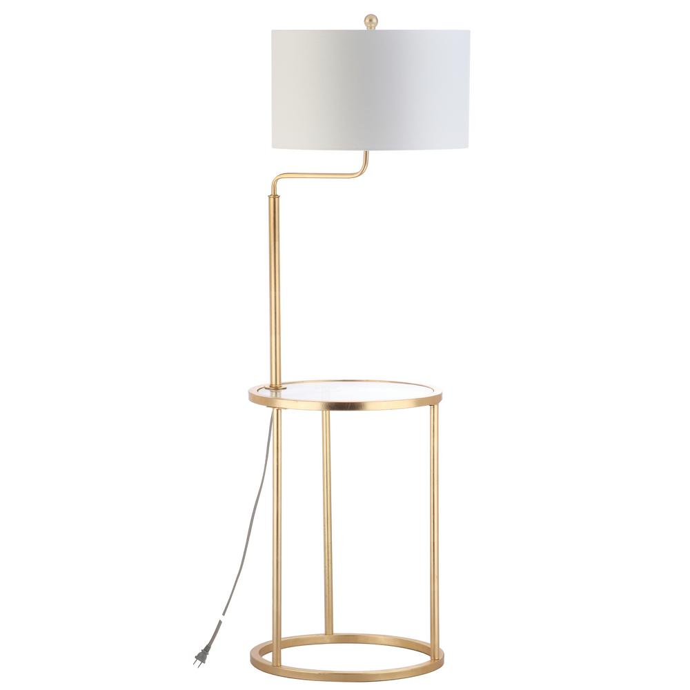 Gold Leaf Floor Lamp With Attached Side