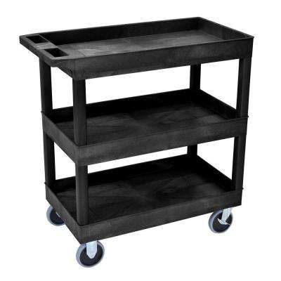 Heavy Duty EC Series 18 in. W x 35 in. L 3-Tub Shelf Utility Cart, Black
