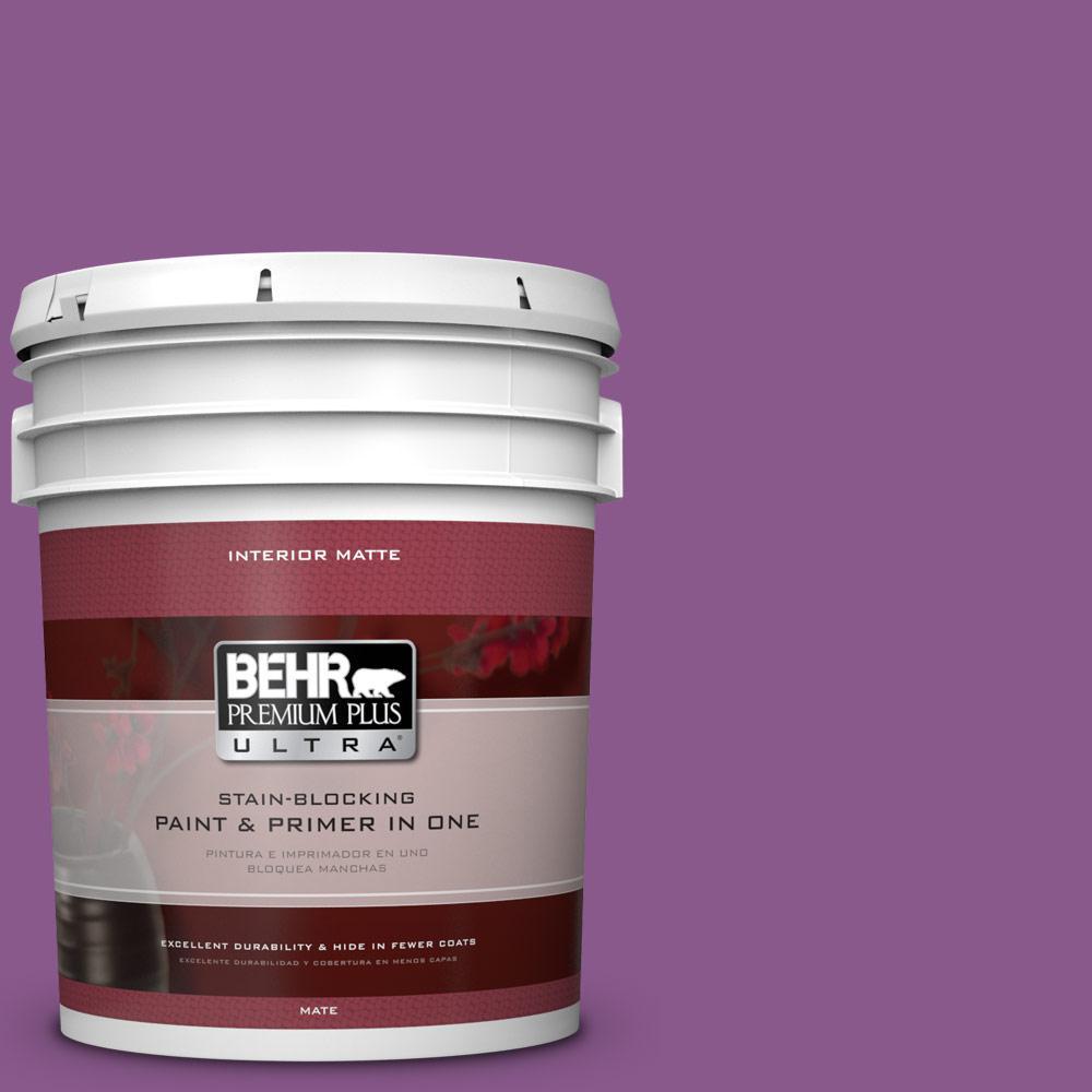 BEHR Premium Plus Ultra 5 gal. #670B-7 Candy Violet Flat/Matte Interior Paint