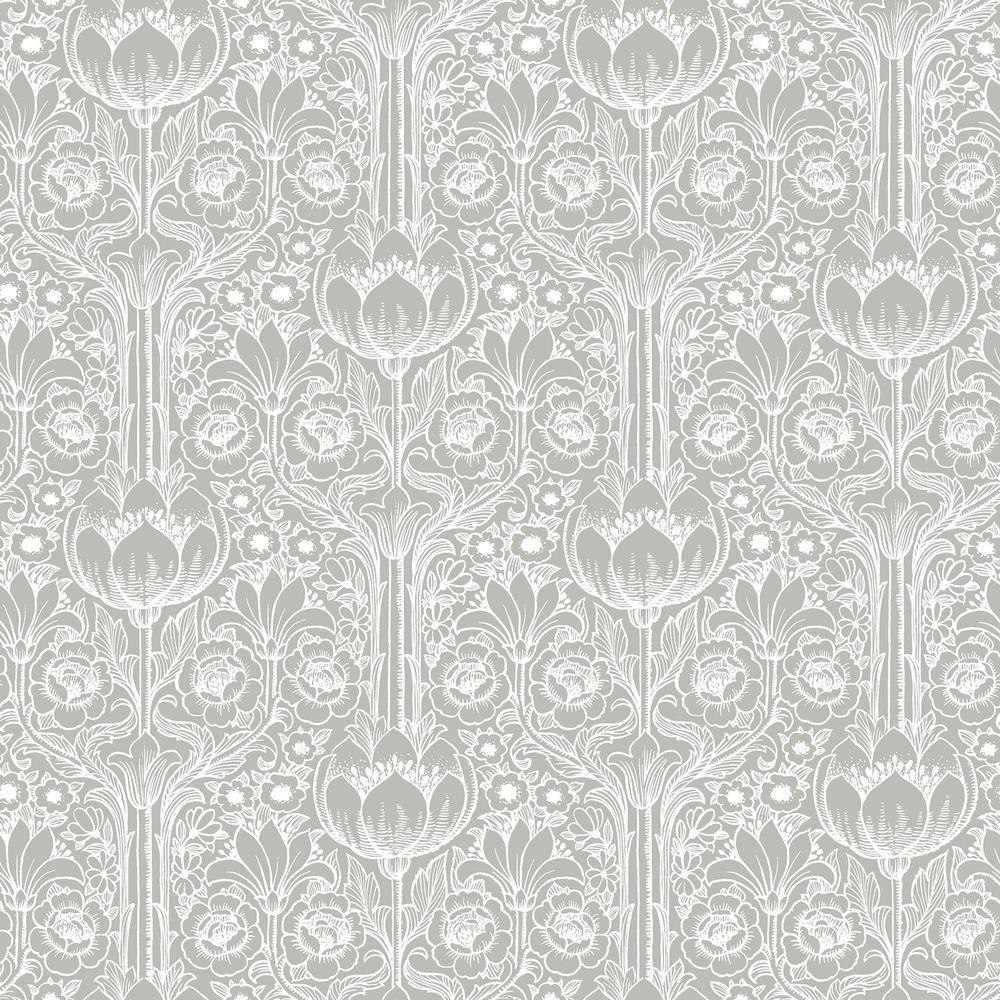 Brewster Grey Garden Damask Wallpaper