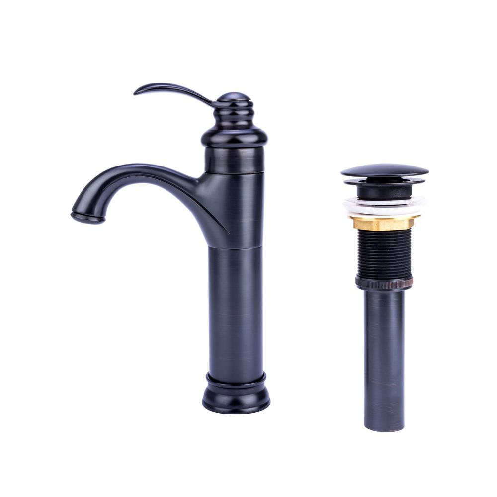 Fontaine by Italia Transitional Single Hole Single-Handle Vessel Bathroom Faucet with Drain in Oil Rubbed Bronze