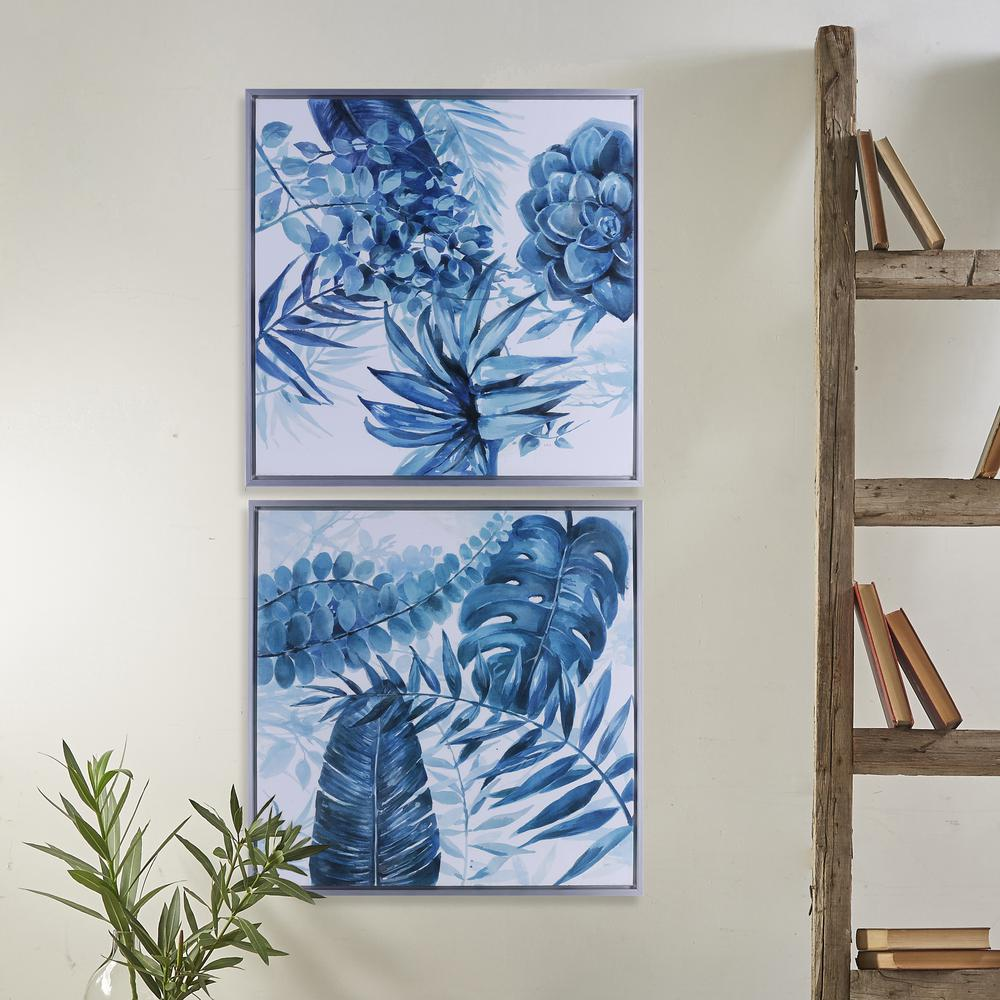 26.5 in. x 26.5 in. Blue Leaves I, Framed Printed Canvas Acrylic ...
