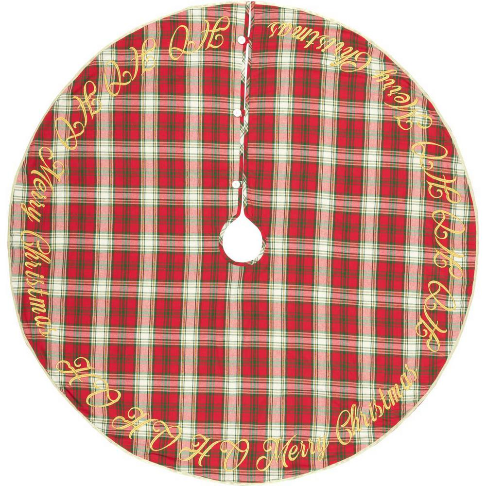 55 in. Holiday Cherry Red Farmhouse Christmas Decor Tree Skirt