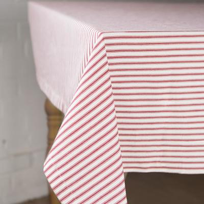 Ticking Square Red and White Cotton Tablecloth
