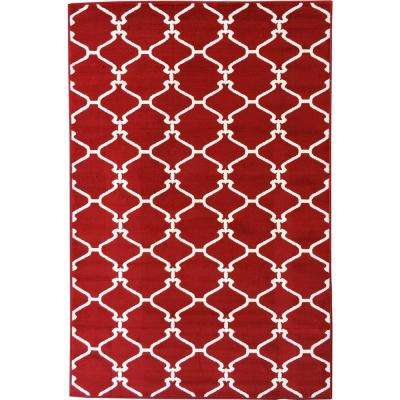 Clifton Collection Moroccan Trellis Design Red 5 ft. x 7 ft. Area Rug