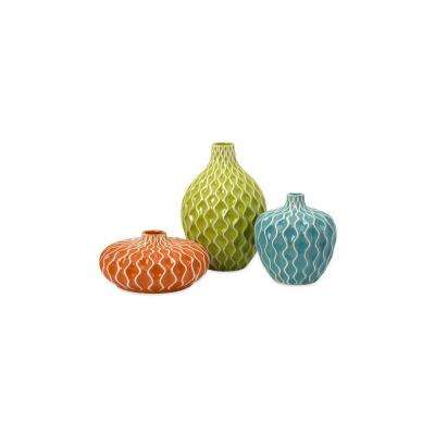 Agatha 4.75 in., 7.5in. and 11.5in. Ceramic Decorative Vases in Multi Color (Set of 3)